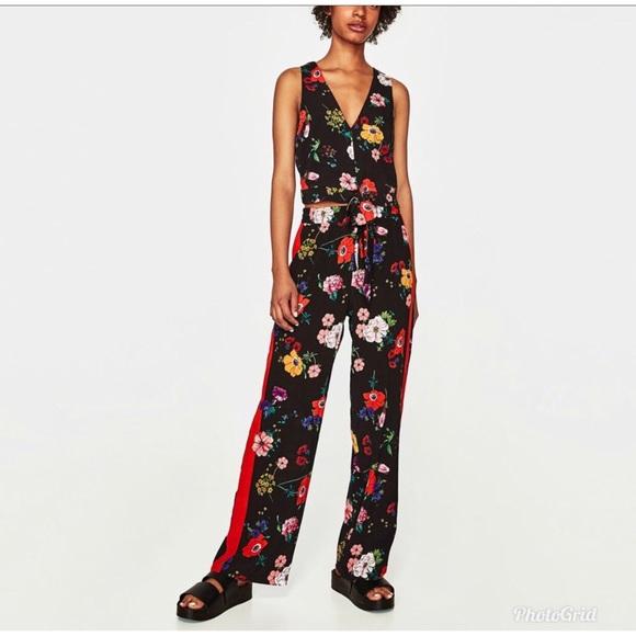 35e42644 Zara Pants | Floral Trousers | Poshmark